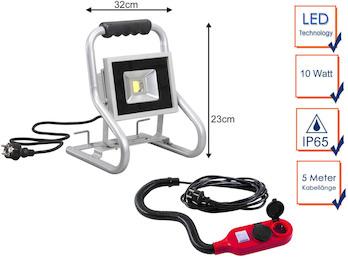 Tragbarer 20 Watt LED Baustrahler mit Verlängerungskabel, Baustellenlampe