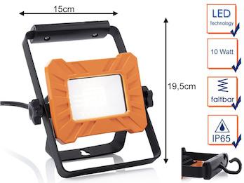 Tragbarer 10Watt LED Baustrahler mit Aufhängung, Arbeitslampe & Baustellenlampe