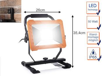 50 Watt LED Baustrahler, Arbeitslampe & Baustellenlampe auch für Wandmontage