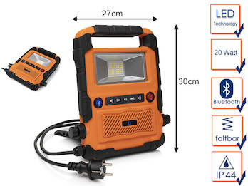 20 Watt LED Baustrahler / Baustellenradio mit Bluetooth Lautsprecher