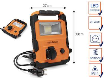 20 Watt LED Baustrahler mit integrierter Steckdose - Arbeitsleuchte
