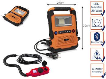 20 Watt LED Baustrahler / Bluetooth Baustellenradio mit Verlängerungssteckdose