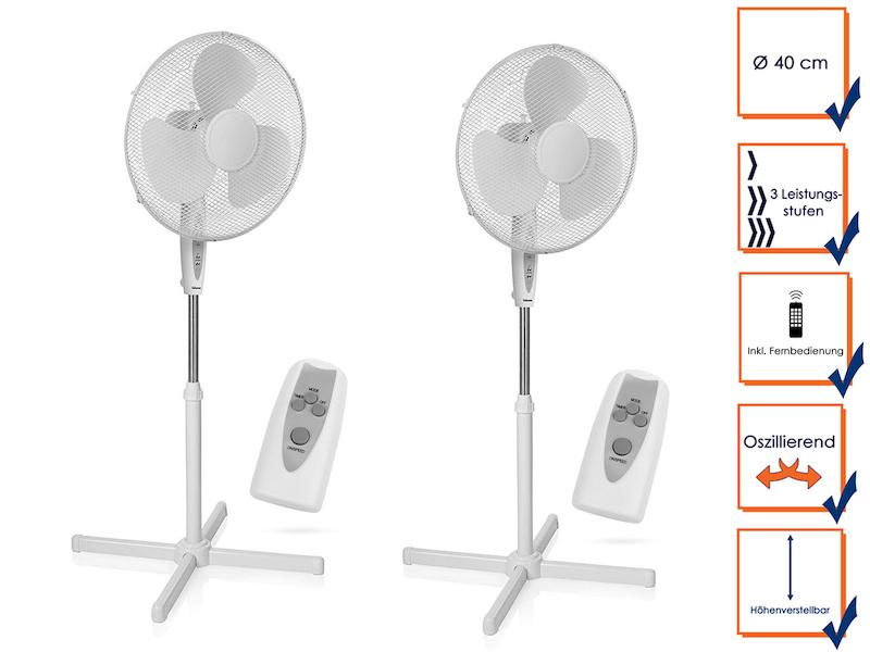 2er Set Oszillierender Wandventilator mit 3 Leistungsstufen /Ø 40 cm wei/ß