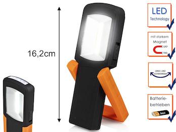 LED Handlampe & Taschenlampe mit Standfuß, Magnet & Haken zum Aufhängen