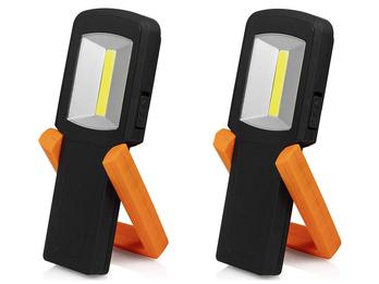 2er Set LED Handlampen & Taschenlampen mit Standfuß, Magnet & Haken