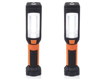 2er Set LED Handlampen & Taschenlampen mit Magnet, Haken & Clip zum Klemmen