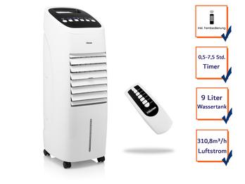 Standventilator mit Wasserkühlung Fernbedienung Timer  - Wassertank 9 Liter