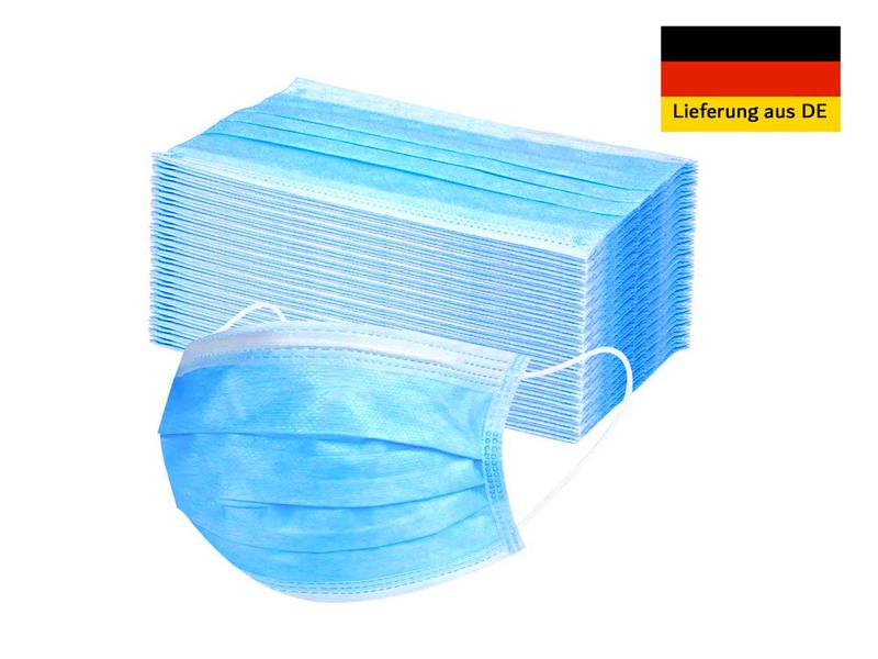 50 Stück Einwegmasken Mund-& Nasenmasken Hygienemasken 3-lagiges Vlies