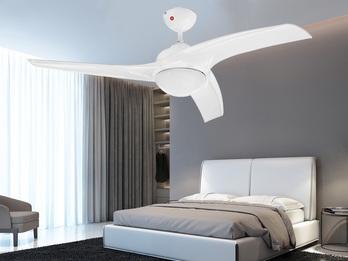 Deckenventilator mit Licht Fernbedienung & Timer, in Weiß Ø132cm, 3 Stufen
