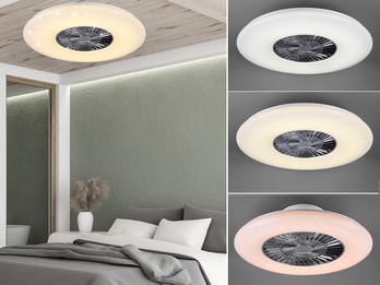 Dimmbarer LED Deckenventilator VISBY Chrom/Weiß Ø59cm Fernbedienung, Nachtlicht