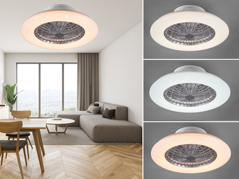 Dimmbarer LED Deckenventilator WeißSilber Ø50cm Fernbedienung & Timer Nachtlicht