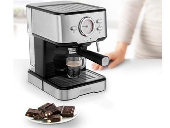 Espresso- & Kapselmaschine 2 Tassen 1,5L Wassertank, 20bar mit Milchaufschäumer