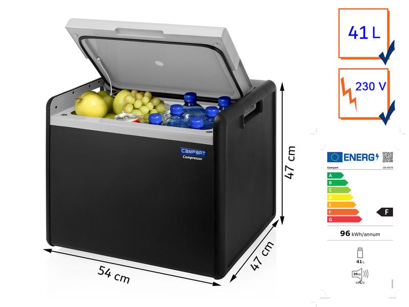 Große elektrische Kühlbox, Anthrazit, 41 Liter Kompressortechnik, 230V Anschluss