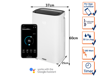 Smarter Luftentfeuchter App gesteuert 6 Ltr. Tank, 30Liter/24h, 44dB, Timer