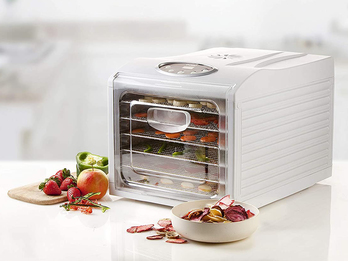 Gourmet Dörrautomat mit Timer, Temperaturregler, 6 Trockenetagen, Rezeptheft