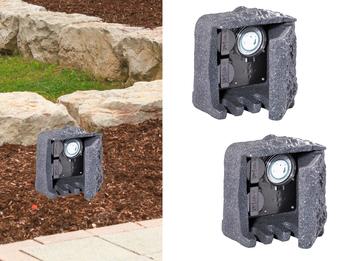 Außensteckdose Steinoptik 2 fach mit Zeitschaltuhr 2er Set Gartensteckdose IP44