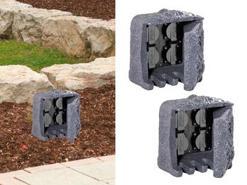Außensteckdose Steinoptik 4 fach 2er Set Gartensteckdose IP44 - 5m Zuleitung