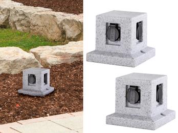 Außensteckdose Granitoptik 4 fach 2er Set Gartensteckdose IP44 - 5m Zuleitung