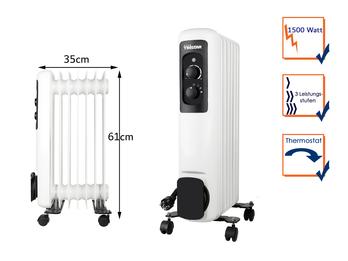 Elektrischer Ölradiator mit Rollen 7 Rippen 3 Stufen Thermostat 1500W, 61x35cm
