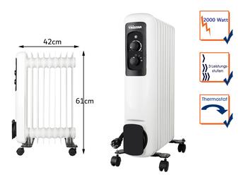 Elektrischer Ölradiator mit Rollen 9 Rippen 3 Stufen Thermostat 2000W, 61x42cm