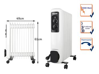 Elektrischer Ölradiator mit Rollen 11 Rippen 3 Stufen Thermostat 2000W, 61x49cm