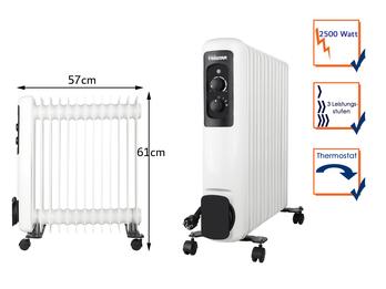 Elektrischer Ölradiator mit Rollen 13 Rippen 3 Stufen Thermostat 2500W, 61x57cm