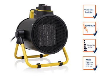 Keramik Elektroheizlüfter Baustellenheizer mit Ventilator Funktion 3000Watt