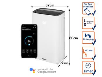 Smarter Luftentfeuchter App gesteuert 6 Ltr. Tank, 20Liter/24h, 42dB, Timer