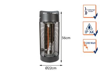 Elektro Infrarot Tischheizstrahler Zylinderform für draußen, Ø22cm Höhe 56cm
