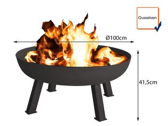 Rustikale Feuerschale aus Gusseisen, schwarz, Ø 100cm, Höhe 41,5cm