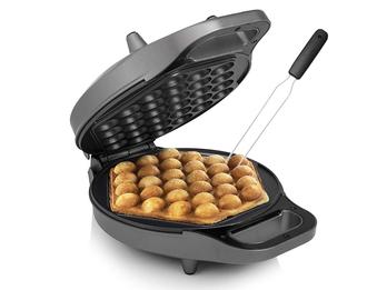 Bubble Waffeleisen drehbar & Gabel Eierwaffeln Ø20cm Egg Waffle Maker 700Watt