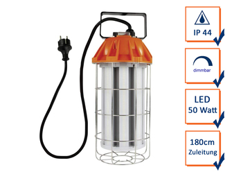 Dimmbare LED Arbeitsleuchte mit Tragegriff Power-Line Power Bulb grau-orange