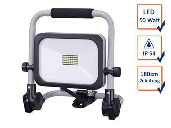 Klappbarer LED Baustrahler Bright Fluter 50Watt 1,80m Zuleitung anthrazit-silber