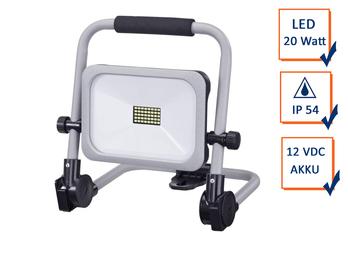 LED Baustrahler 20Watt tragbar, Akku & Netzteil 3 Stufen, klappbare Arbeitslampe