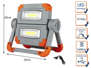Klappbarer COB LED Baustrahler 2x 5 Watt mit Akku Powerbank & USB Ladekabel