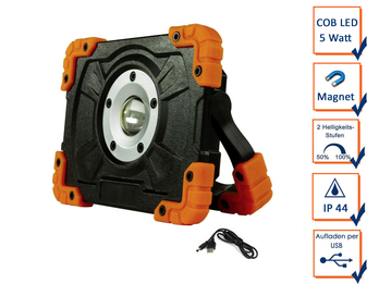 Stabiler Baustrahler 5Watt COB LED, Magnet, Akku Powerbank & USB Ladekabel, IP44