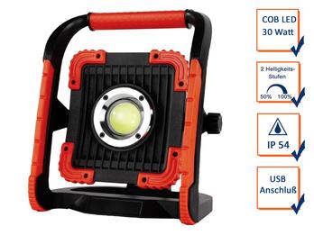 Baustrahler 30 Watt COB LED, mit USB Anschluß, AKKU inkl. Netzteil, IP54