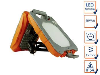 LED Baustrahler 40 Watt integrierte Steckdose, Arbeitsleuchte 3Mtr. Kabel, IP54