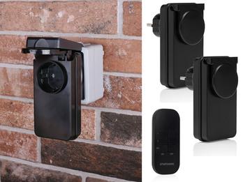 Outdoor Funk Steckdosenset mit Fernbedienung für Leuchten und Geräte bis 1000W