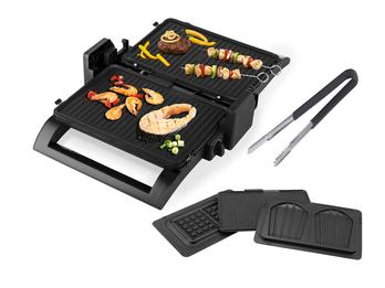 Kontaktgrill Grillzange, Waffeleisen & Sandwichmaker 4in1 Wechselplatten 31x21cm