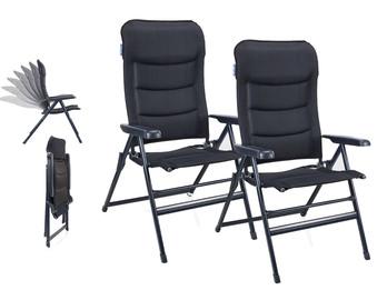 2er Set Liegestühle Campingstühle Blau, Hochlehner verstellbar & klappbar