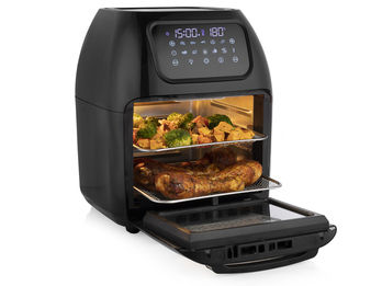 Digitale Heißluftfritteuse Mini Backofen, 2 Grillroste & Pommeskorb, 10L 1800W