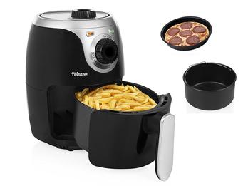 Mini Heißluftfritteuse & 2tlg Zubehörset - Crispy Fryer ohne Öl 2Ltr 1000Watt