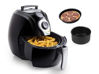 Kleine Heißluftfritteuse & 2tlg Zubehörset, Crispy Fryer ohne Öl 3,2Ltr 1500Watt