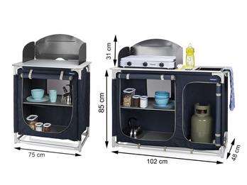 Campingküche mit Spüle & Windschutz - 2 Campingschränke Küchenblock Outdoor