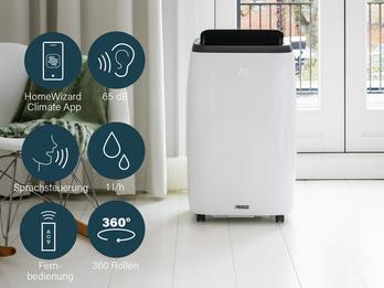 Smartes Klimagerät App gesteuert mit Fernbedienung & Fensterkid, 2,6kW 65dB