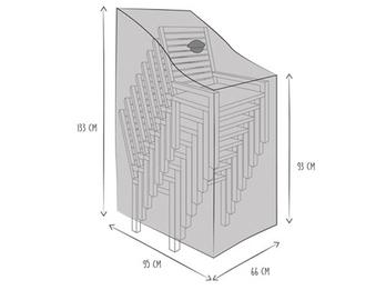 Gartenmöbel Schutzhülle für 6-8 Stapelsessel 95x133cm Abdeckhaube mit Belüftung
