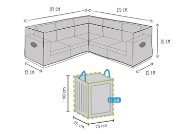 Schutzhülle 215x215cm für L-förmiges Garten Lounge Set + Hülle für 6-8 Kissen