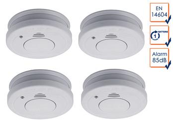 Rauchmelder 4er Set mit Batteriewarnung & Testtaste - Zulassung nach EN14604