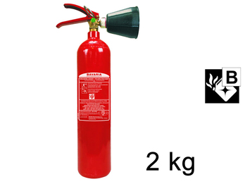 CO²-Feuerlöscher 2L, rückstandslos Löschen, Feuerklasse A, B